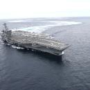 Дрифт в океане самого большого в мире авианосца попал на видео