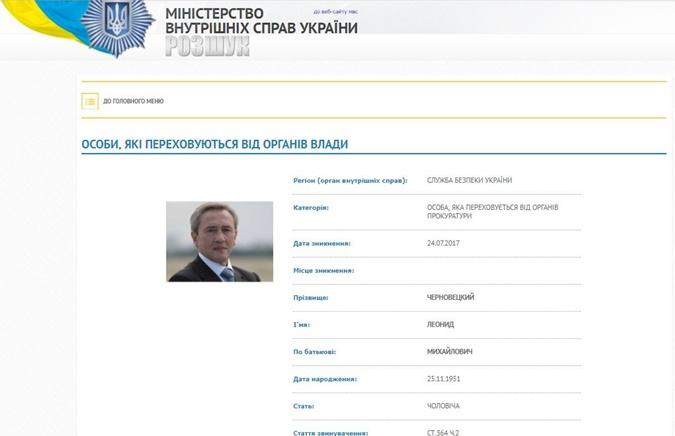 СБУ объявила в розыск экс-мэра Киева Леонида Черновецкого