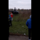 Приземлившийся на остановке вертолет шокировал жителей Чернигова (видео)
