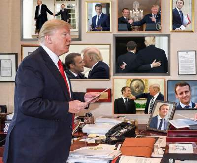 Встречу Трампа и Макрона высмеяли в фотожабах