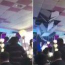 Невеста оконфузилась на свадьбе, «проломив» потолок свадебным букетом