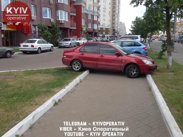 Претендует на рекорд по тупости: В сети показали фото необычного «героя парковки» в Киеве