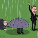 В сети яркой карикатурой высмеяли Путина с зонтом на награждении ЧМ-2018