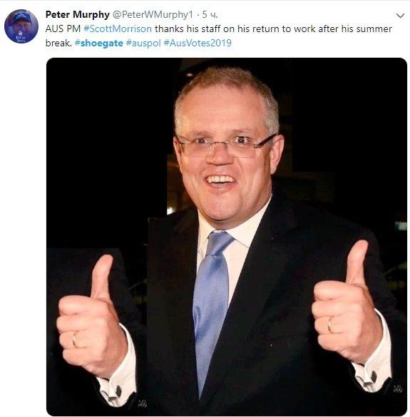 Неудачный фотошоп с кроссовками премьер-министра Австралии стал мемом в соцсетях