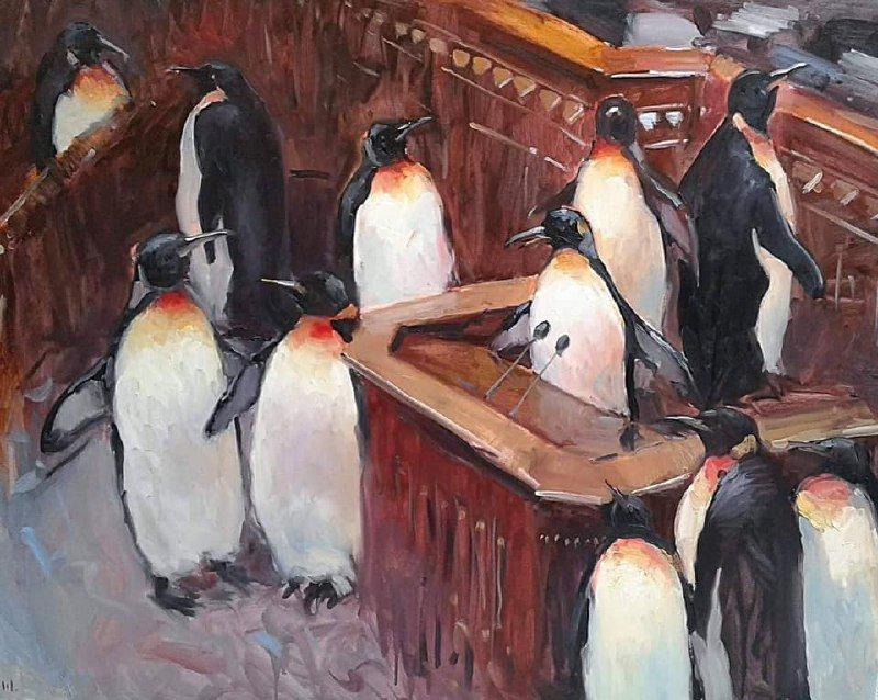 Пингвины и киоски с шаурмой: сети повеселили фото картин в офисе Зеленского