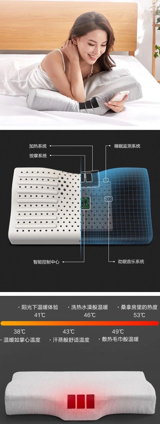 Xiaomi разработала «умную» подушку с подогревом, массажем и стереодинамиками