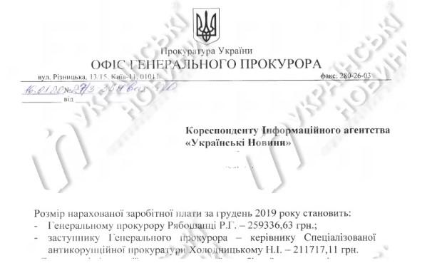 Генпрокурор Рябошапка в декабре получил почти 260 тысяч гривен зарплаты